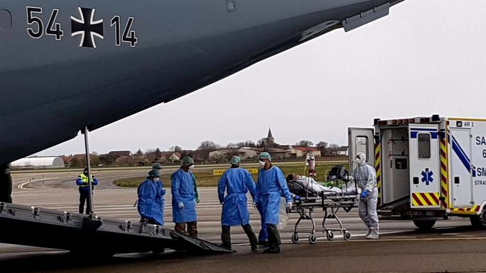 German military transports patients from Bergamo in March 2020