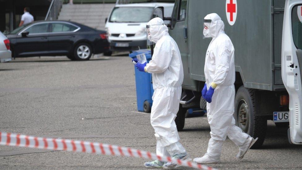 Sampling point to test miners on the coronavirus at the Murcki-Staszic mine in Katowice, 11 May 2020