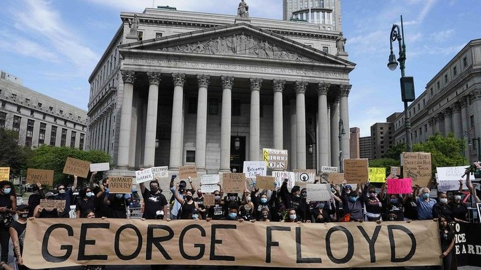 A protest against the death of George Floyd in the US