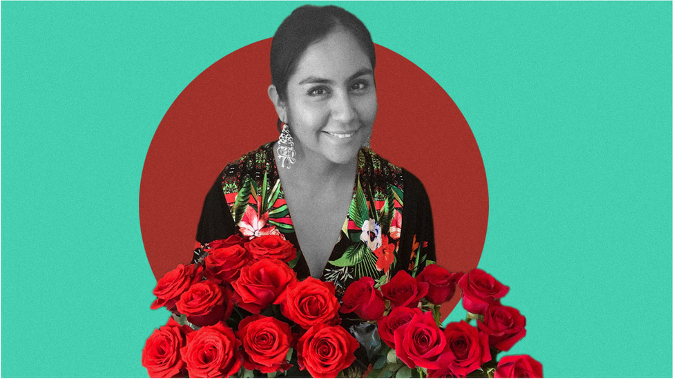 Yazmin Salazar poses with a bouquet of roses