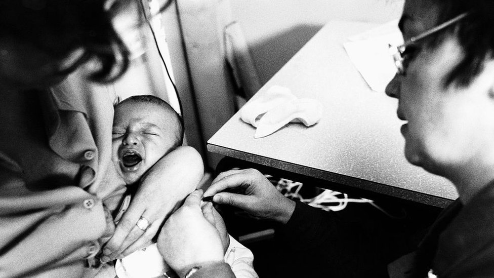 Baby being given a BCG jab