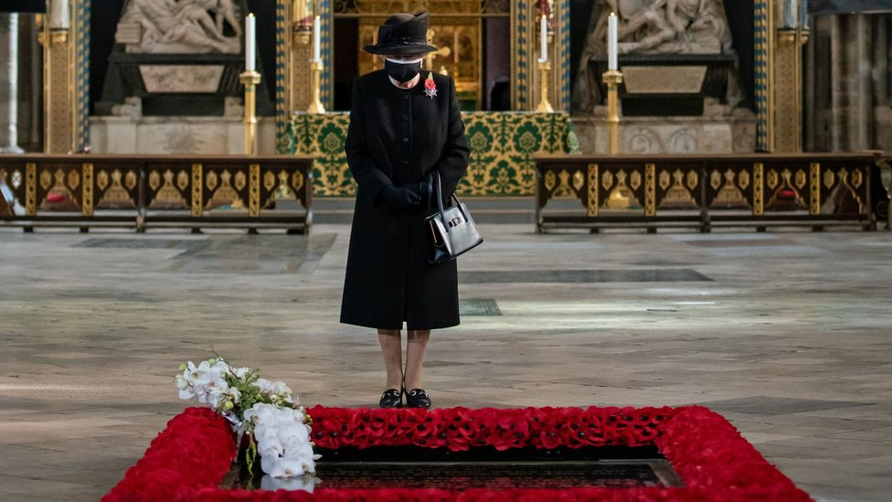 The Queen, at a private ceremony to mark the burial of the Unknown Warrior