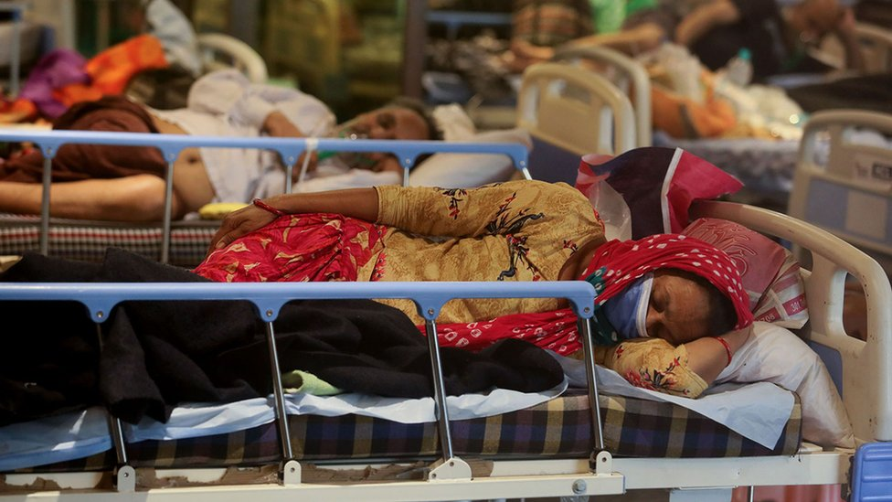 Woman on a Covid ward in India