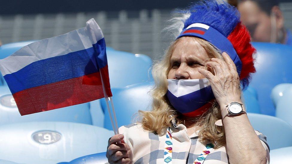 Russian fan inside Saint Petersburg Arena, June 16, 2021